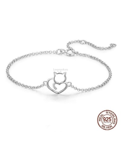 Silver bracelet with kitten | Loveneck