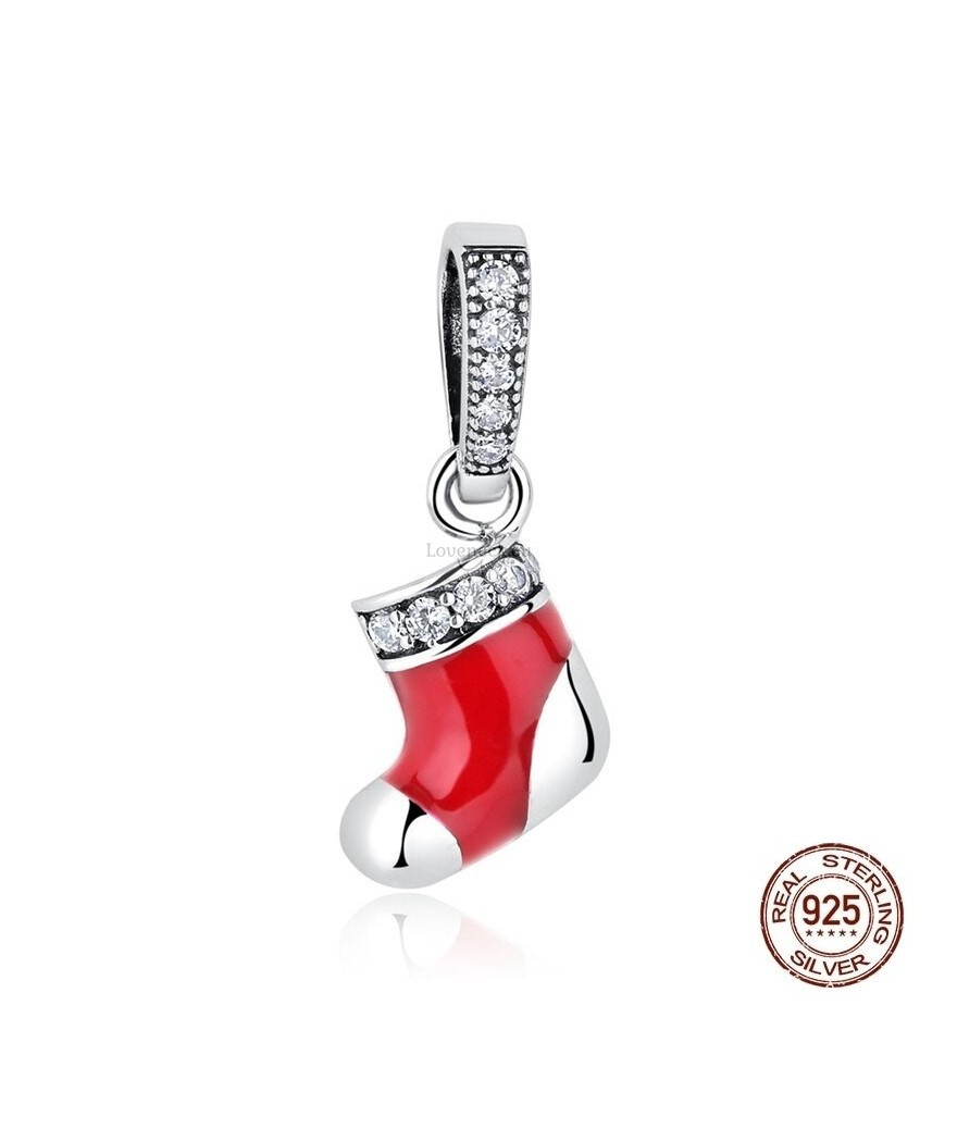 Silver charm red christmas sock