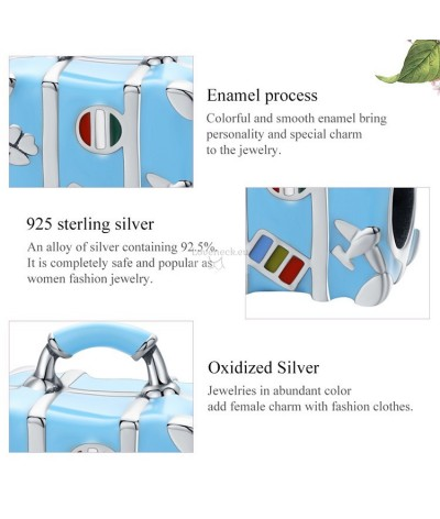 Silver charm suitcase