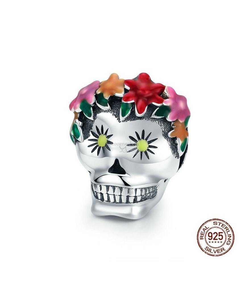 Silver charm mexican skull