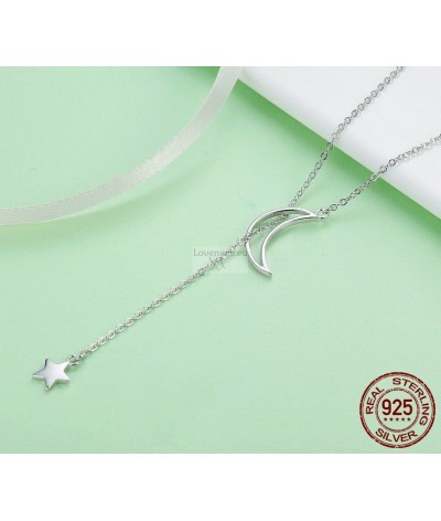 Silver pendant star and moon | Loveneck