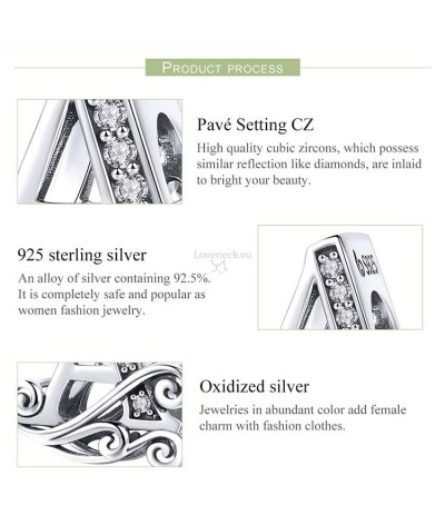 Silver charm letter A