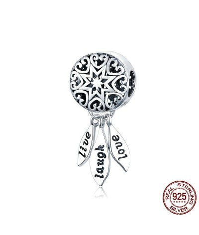 Silver charm dream catcher (live,laugh,love)