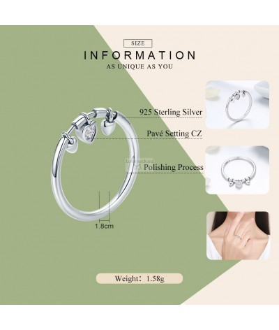 Silver ring  hearts and zircons | Loveneck