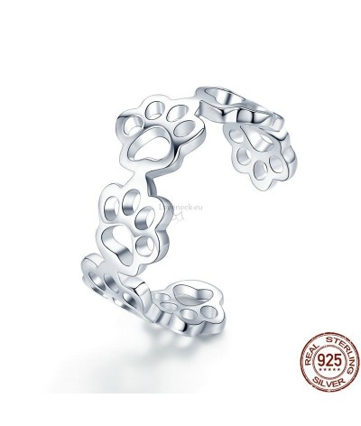 Silver ring dog footprints | Loveneck