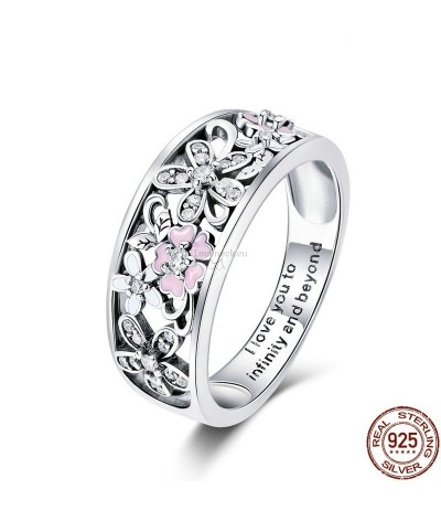 Silver ring with flowers and zircons | Loveneck