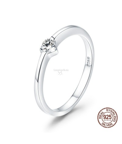 Silver ring shiny heart | Loveneck