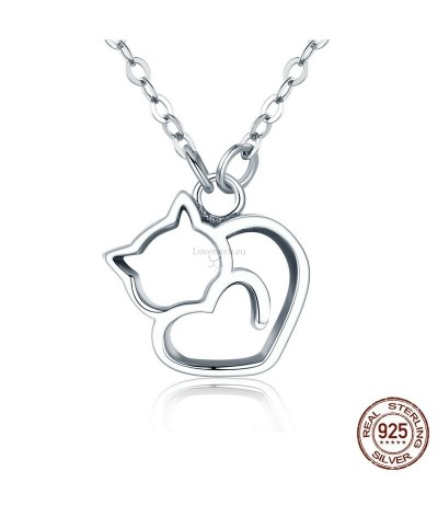 Silver pendant lovely cat | Loveneck