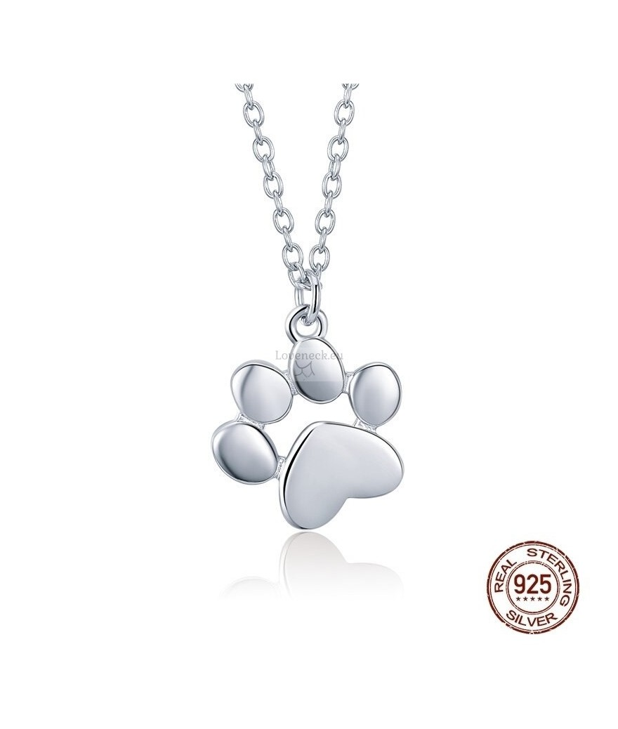 Silver pendant dog footprint | Loveneck